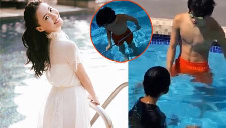 张柏芝带两儿子给泳池清洁