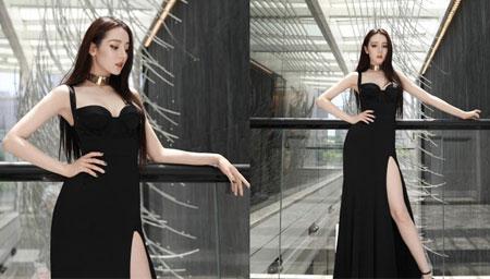迪丽热巴开叉长裙妩媚性感